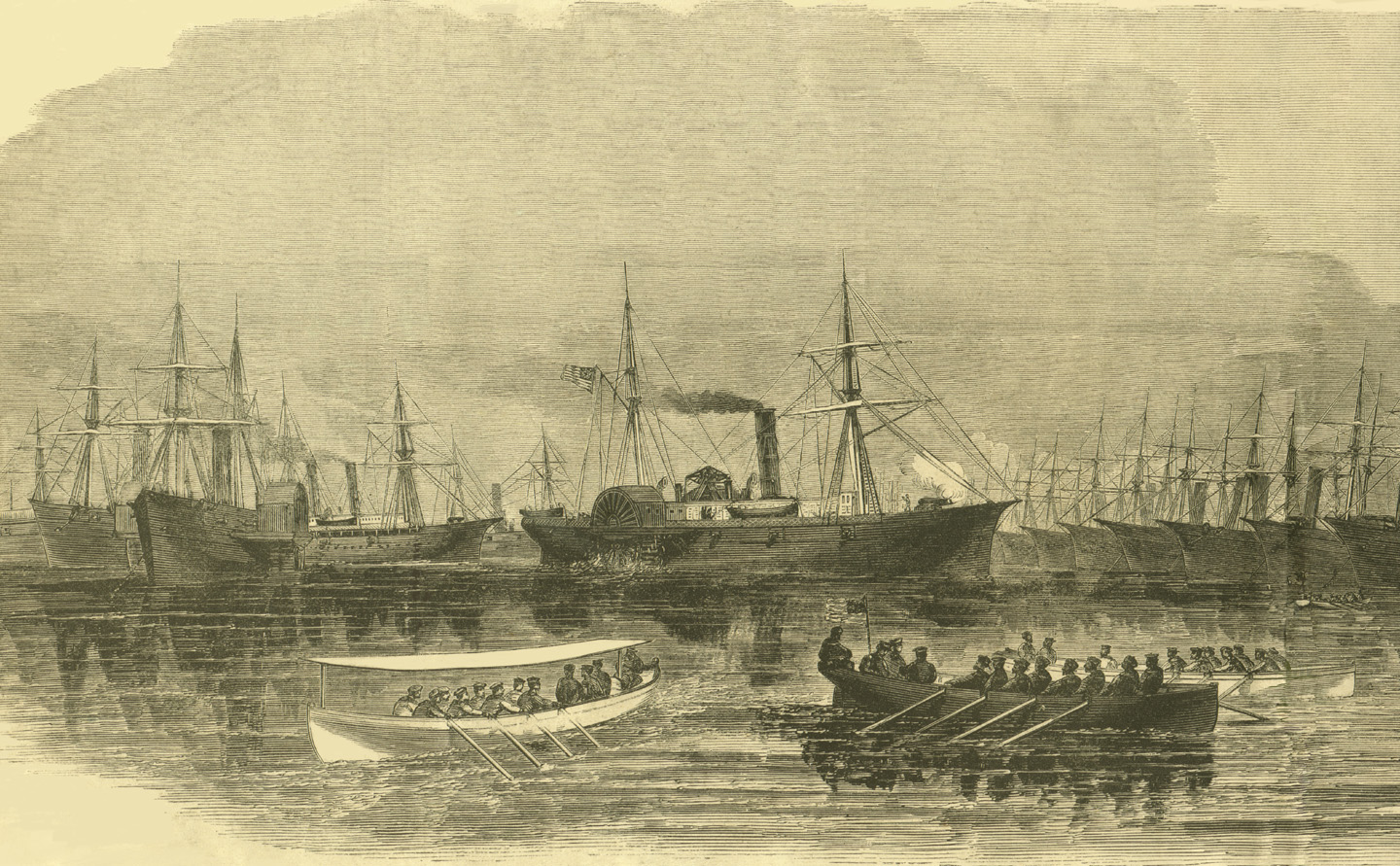For as long as there have been ships, there have been people who work them...<BR>Harper's Weekly, 1860's,  Restored by Fred Herndon